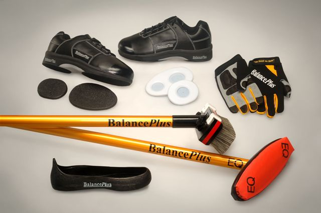 Curling shoes, brooms, gripper, gloves